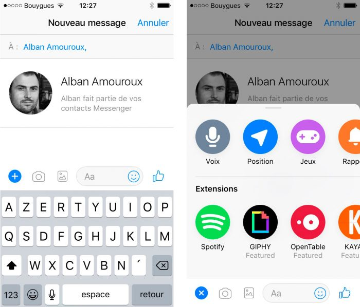 Spotify sur Messenger - chat extension