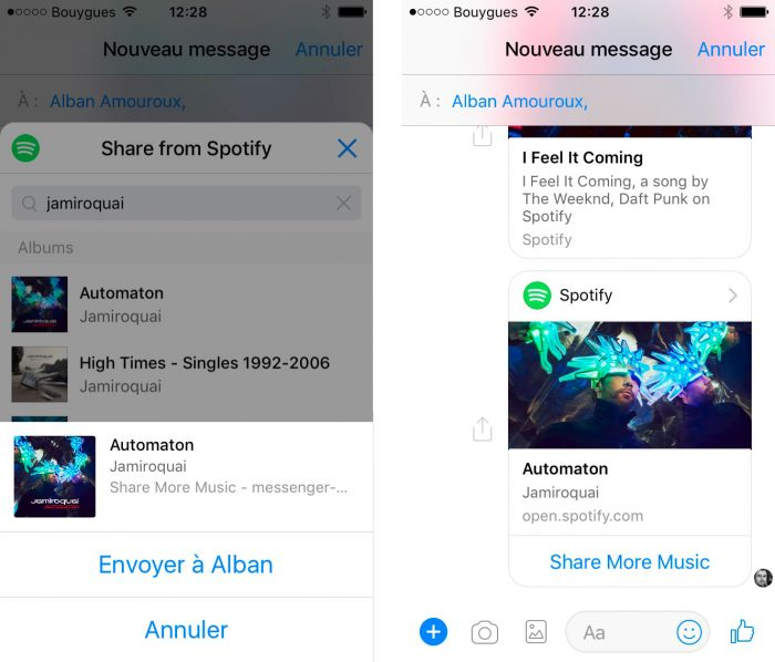 Spotify sur Messenger - select music