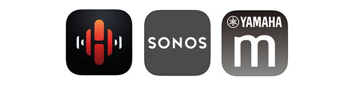 comparatif heos sonos musiccast apps icons